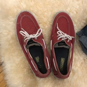 SPERRY Topsider Bahama 2 eye red shoes size 10M